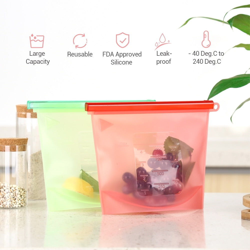 Reusable Silicone Food Sealing Storage Bags