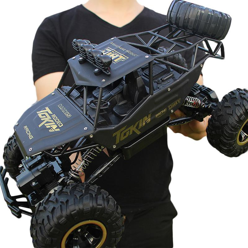 4WD High Speed Dual Motor RC Car - 4X4 Off Road Rock Crawler - 37cm Black Large - RC Cars