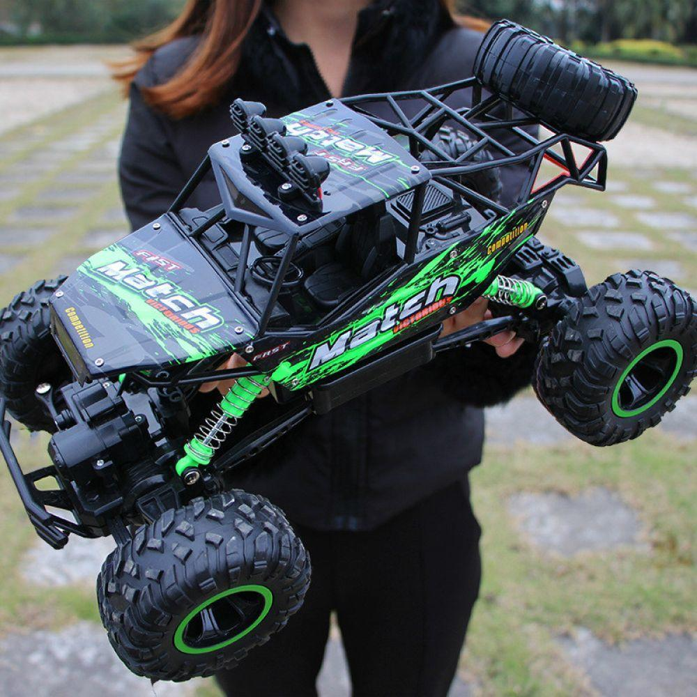 4WD High Speed Dual Motor RC Car - 4X4 Off Road Rock Crawler - 37cm green Large - RC Cars