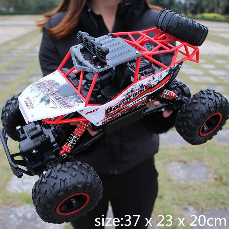 4WD High Speed Dual Motor RC Car - 4X4 Off Road Rock Crawler - 37cm Red Large - RC Cars