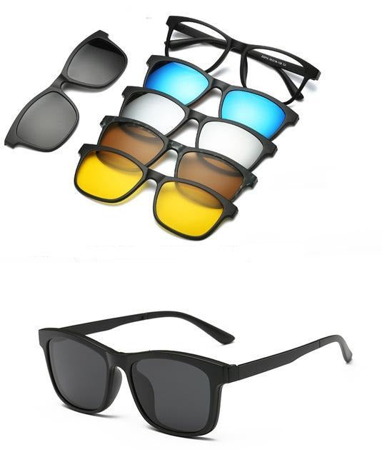 5 in 1 Polarized Magnetic Clip on Sunglasses - Night Driving Glasses - 2201A
