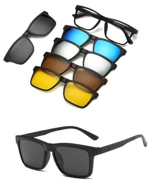 5 in 1 Polarized Magnetic Clip on Sunglasses - Night Driving Glasses - 2202A
