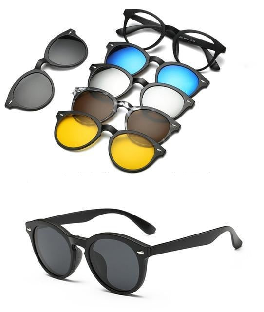 5 in 1 Polarized Magnetic Clip on Sunglasses - Night Driving Glasses - 2205A