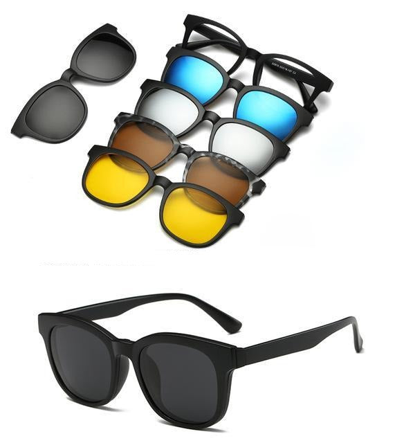 5 in 1 Polarized Magnetic Clip on Sunglasses - Night Driving Glasses - 2207A
