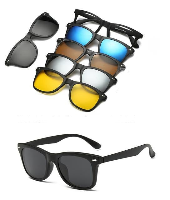 5 in 1 Polarized Magnetic Clip on Sunglasses - Night Driving Glasses - 2208A