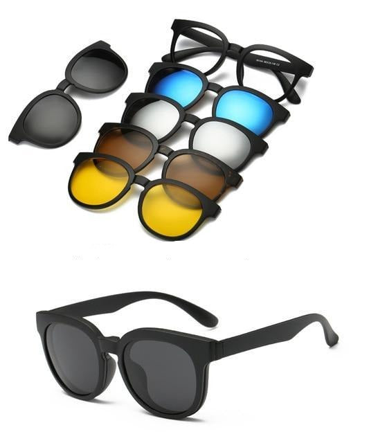 5 in 1 Polarized Magnetic Clip on Sunglasses - Night Driving Glasses - 9010A