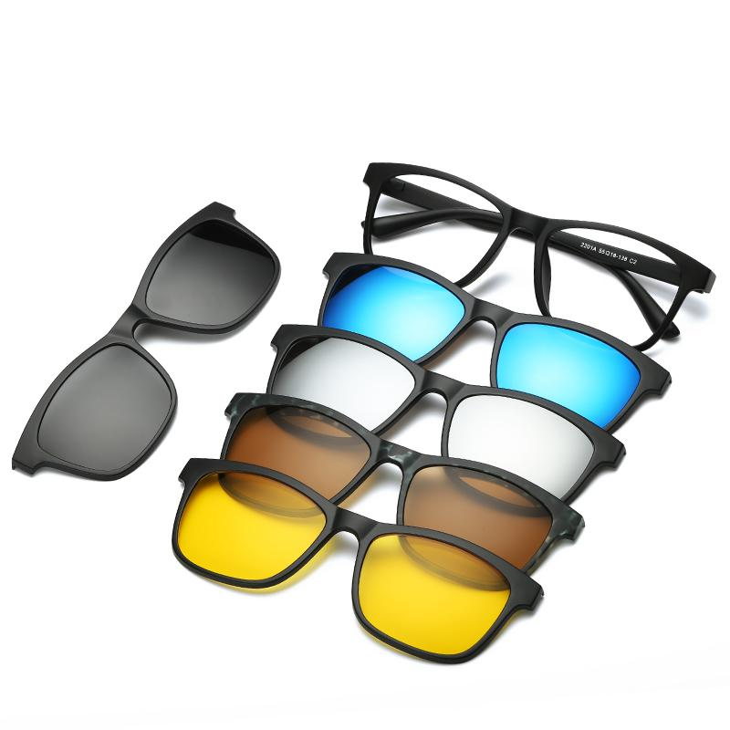 5 in 1 Polarized Magnetic Clip on Sunglasses - Night Driving Glasses