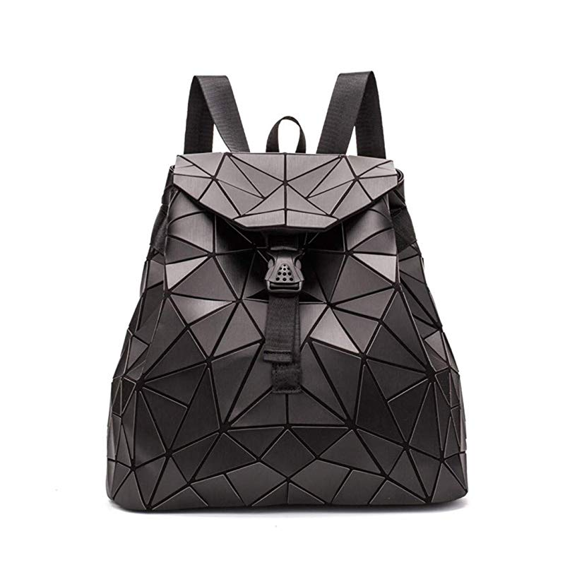 Irregular Laser Geometric Designer Travel Backpack - Black - Backpacks