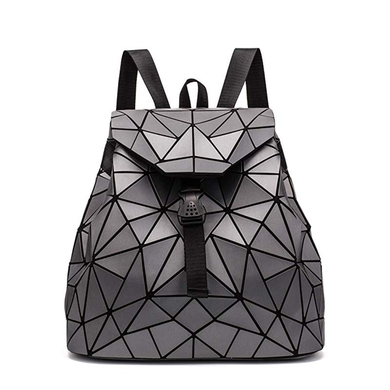 Irregular Laser Geometric Designer Travel Backpack - Dark Grey - Backpacks