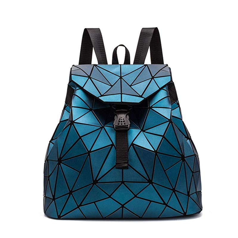 Irregular Laser Geometric Designer Travel Backpack - Blue - Backpacks