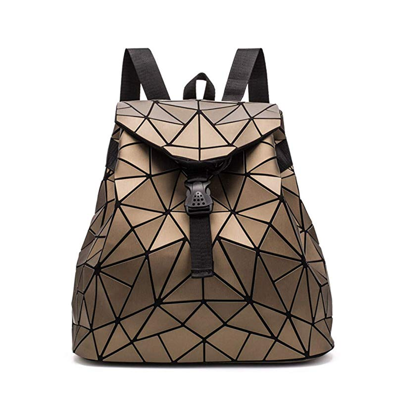 Irregular Laser Geometric Designer Travel Backpack - gold - Backpacks