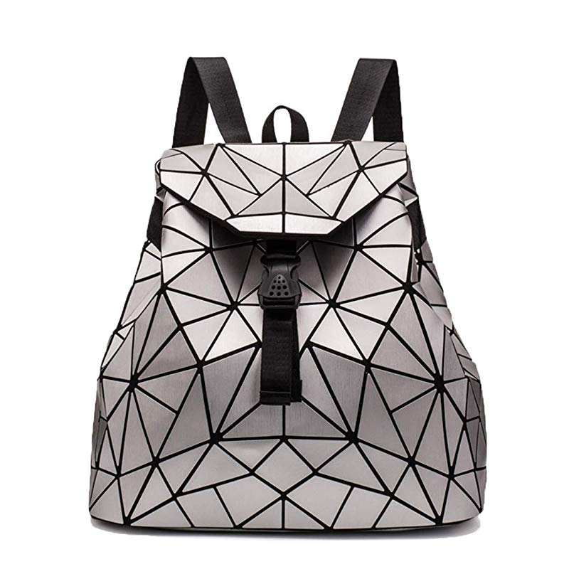 Irregular Laser Geometric Designer Travel Backpack - Silver - Backpacks