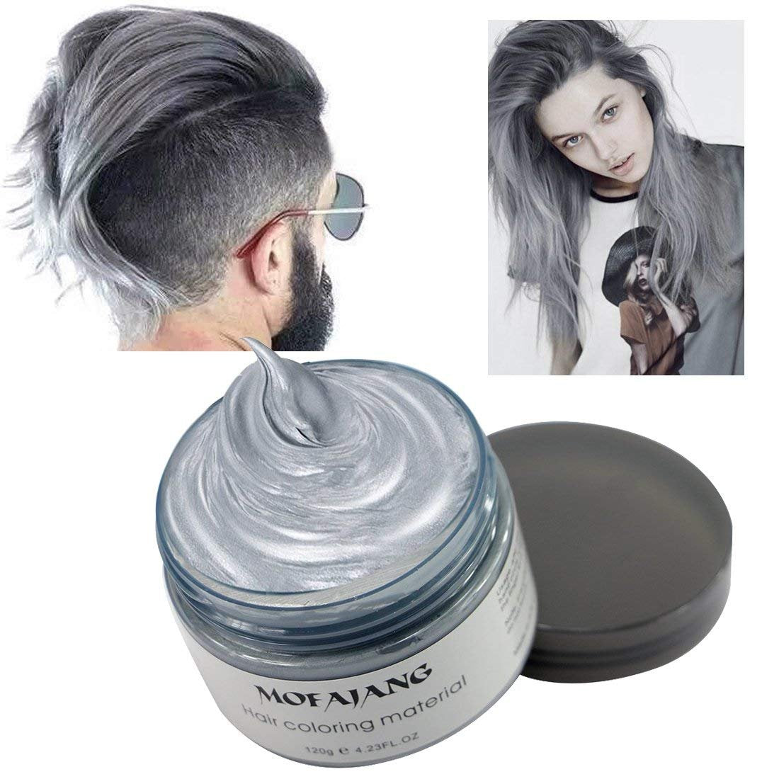 Mofajang Hair Color Wax - Disposable Washable Temporary Color Dye - Silver - Hair Color