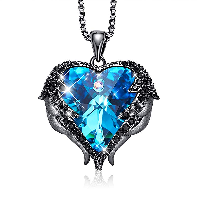 Swarovski Crystals Heart Of Angel Pendant Necklace For Women Fashion Jewelry - Black Blue - Pendant Necklaces