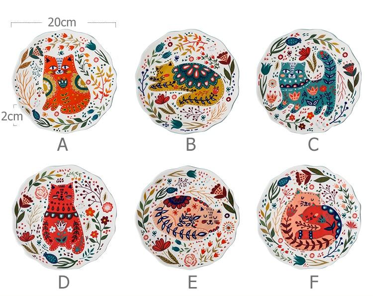 8 Inch Hand Painted Cat Ceramic Dinner Plate Underglaze Kitten Dinnerware - Dishes & Plates