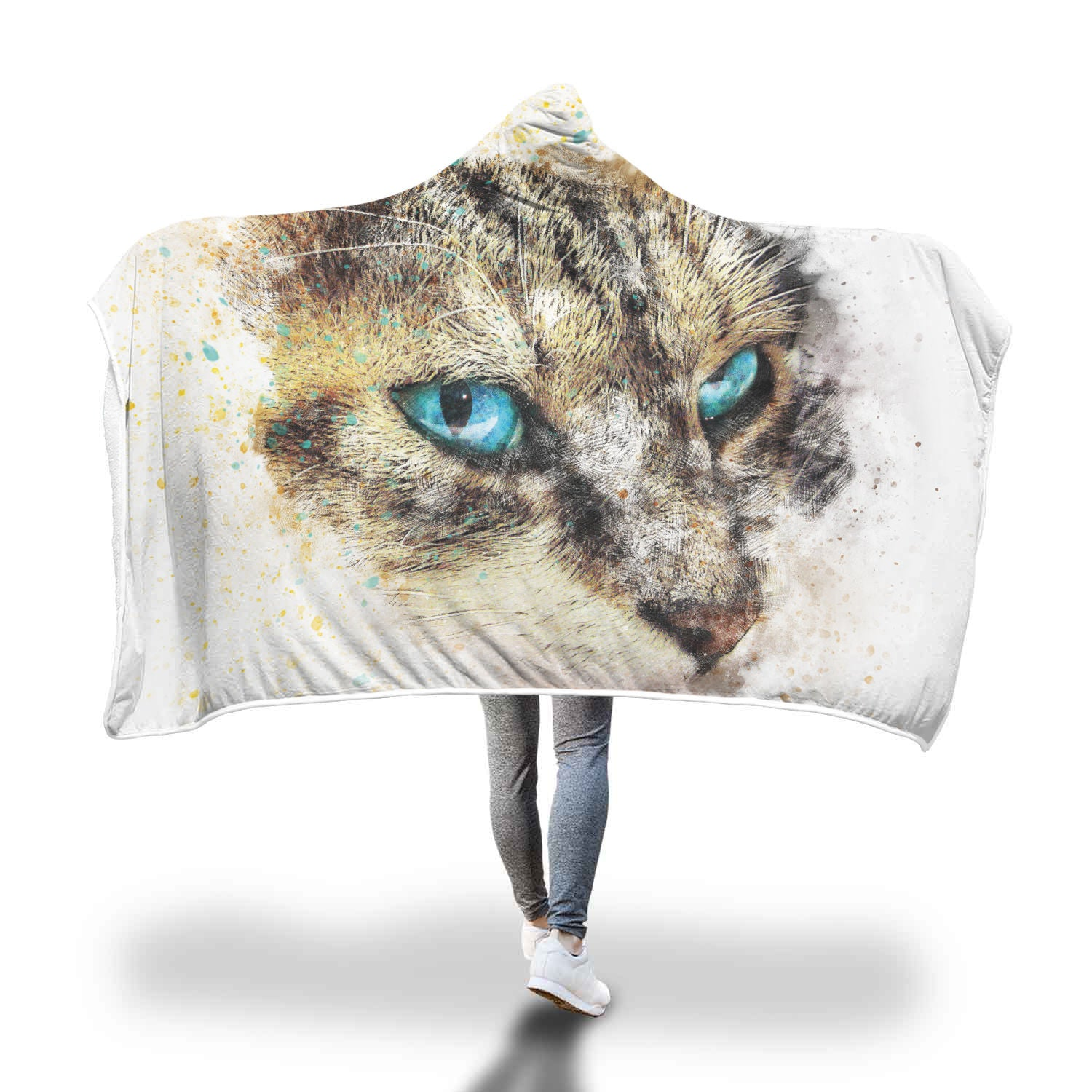 Sketch Cat Custom Hooded Blanket - Hooded Blanket