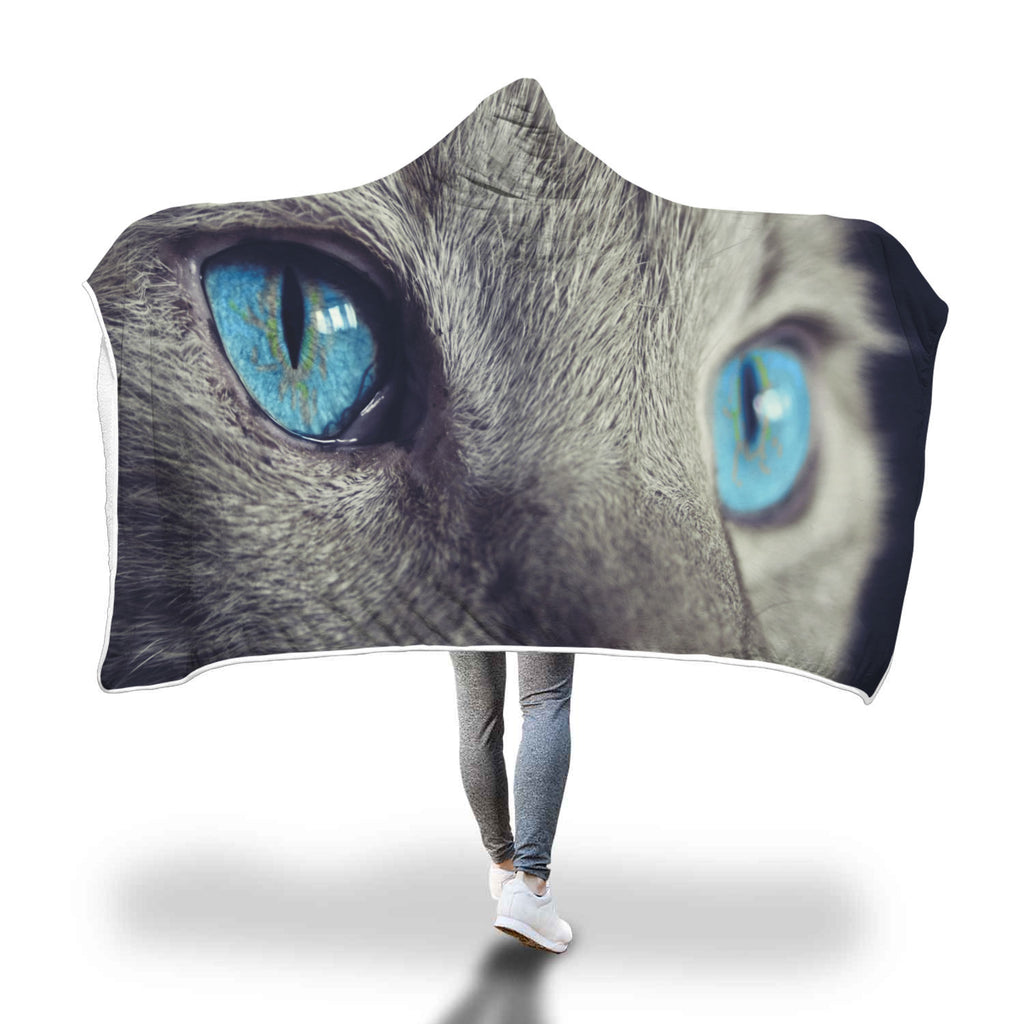 Blue Cat Eyes Custom Hooded Blanket - Hooded Blanket