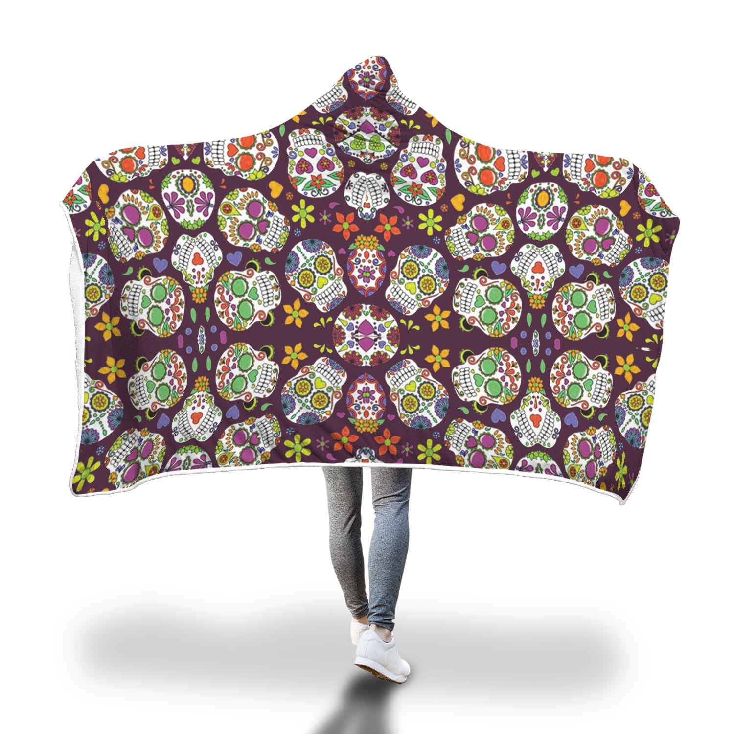 Sugar Skull Custom Hooded Blanket - Hooded Blanket