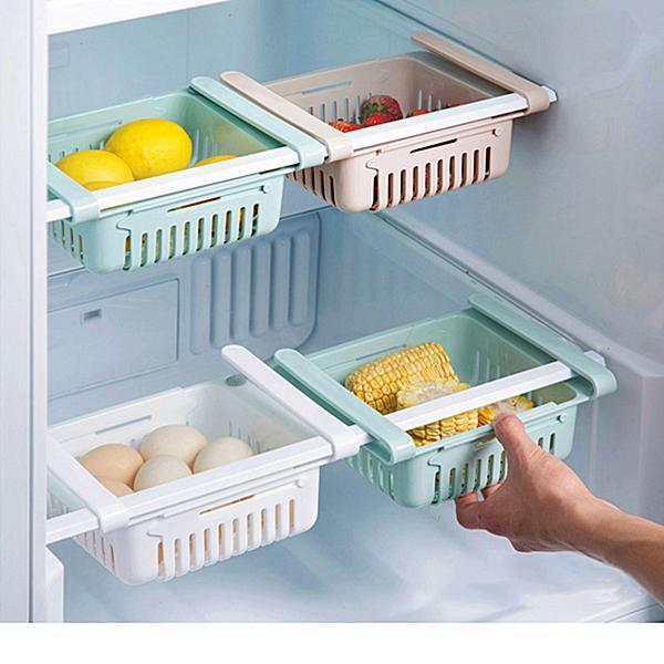 Adjustable Pull-Out Refrigerator Storage Box Kitchen Food Container
