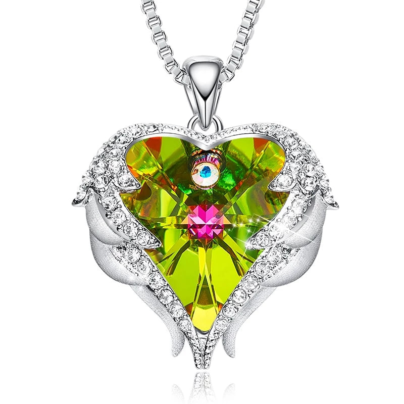 Swarovski Crystals Heart Of Angel Pendant Necklace For Women Fashion Jewelry