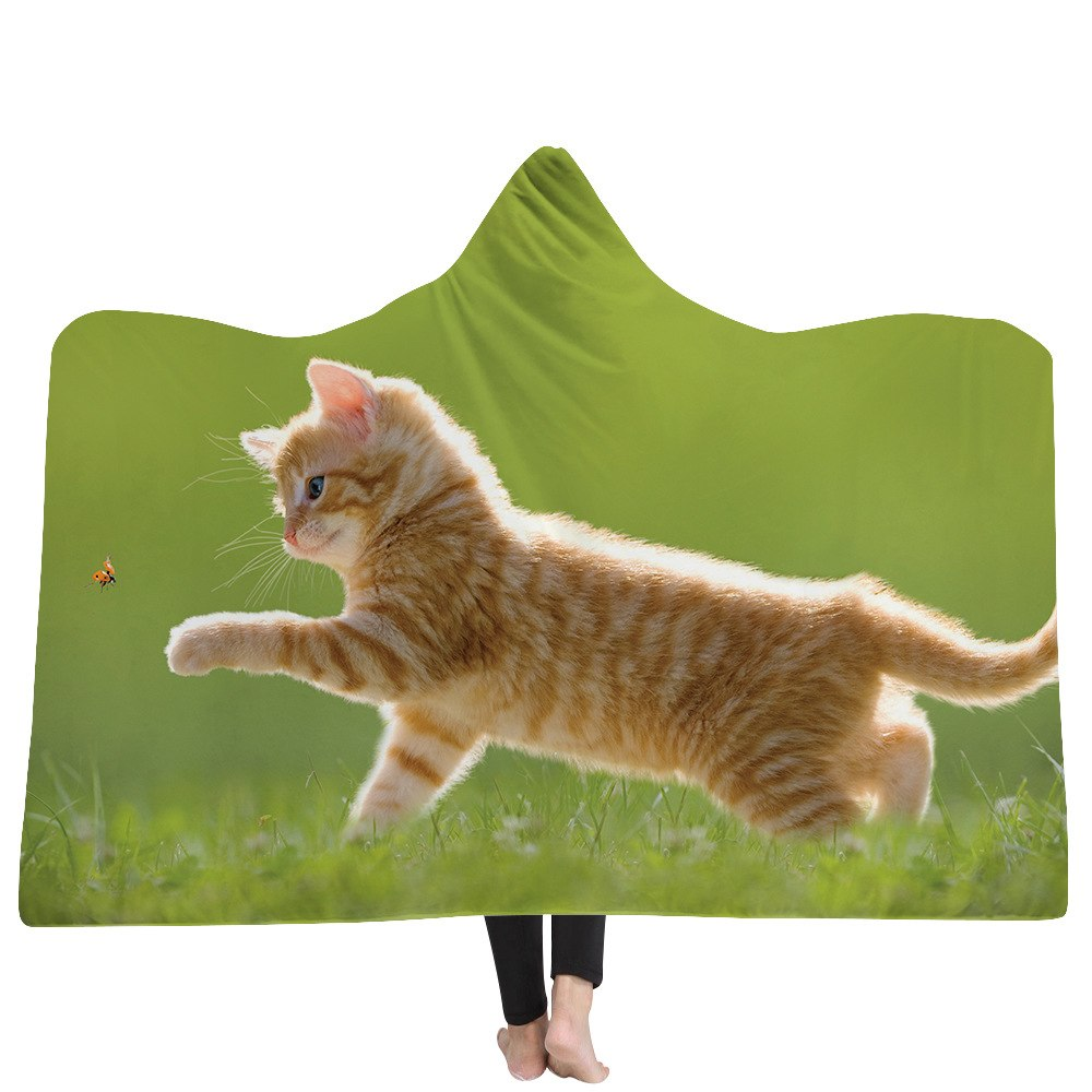 Playing Cat Custom Hooded Blanket