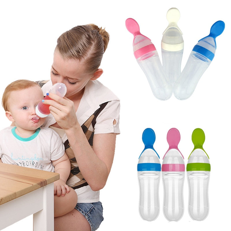 Baby Bottle Feeding Squeezer Baby Spoon Feeder - Bottles