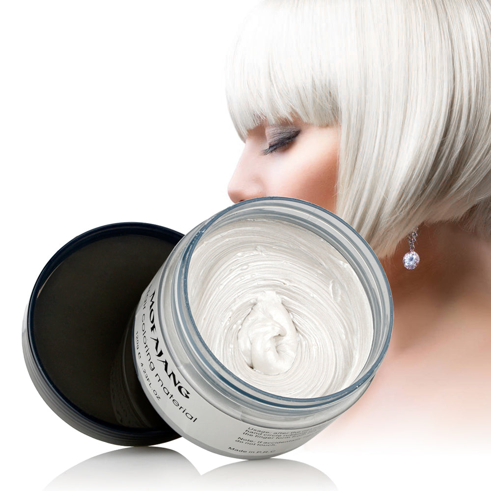 Mofajang Hair Color Wax - Disposable Washable Temporary Color Dye - Ivory White - Hair Color