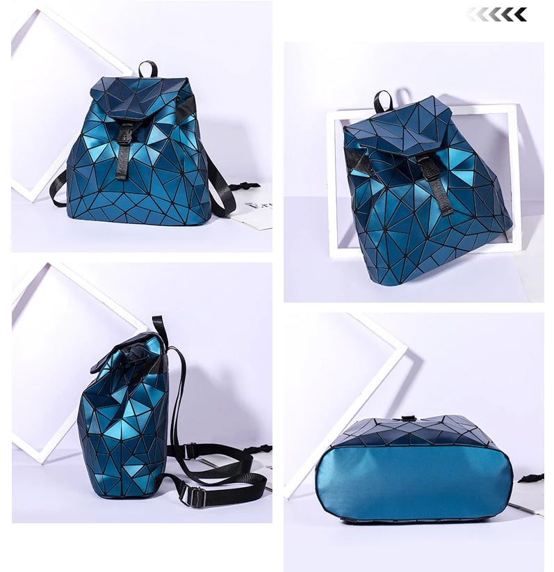 Irregular Laser Geometric Designer Travel Backpack - Backpacks