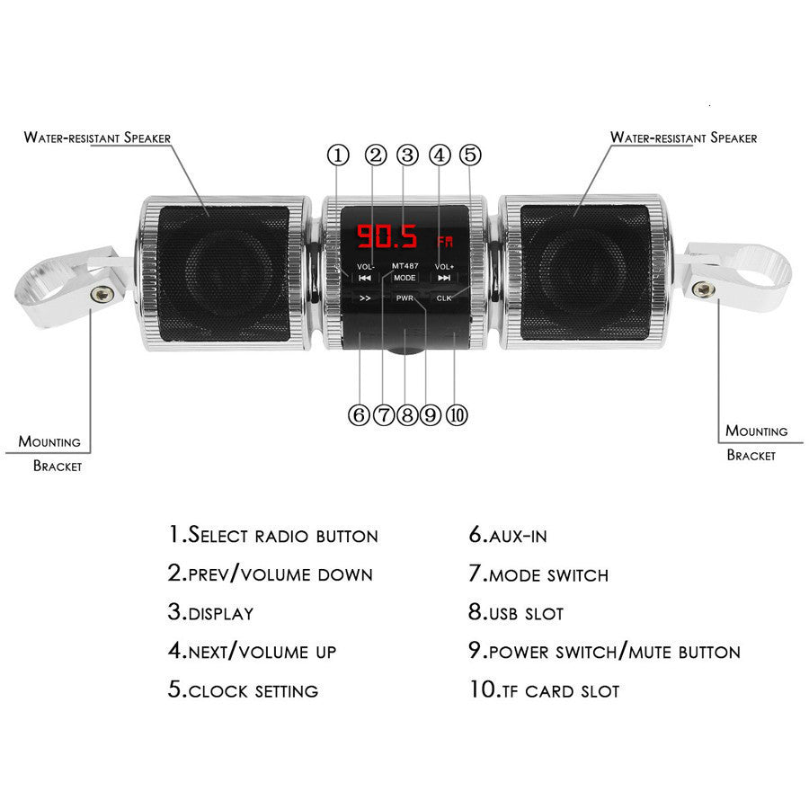Water Resistant & Bluetooth Motorcycle Stereo Speaker With LED Display