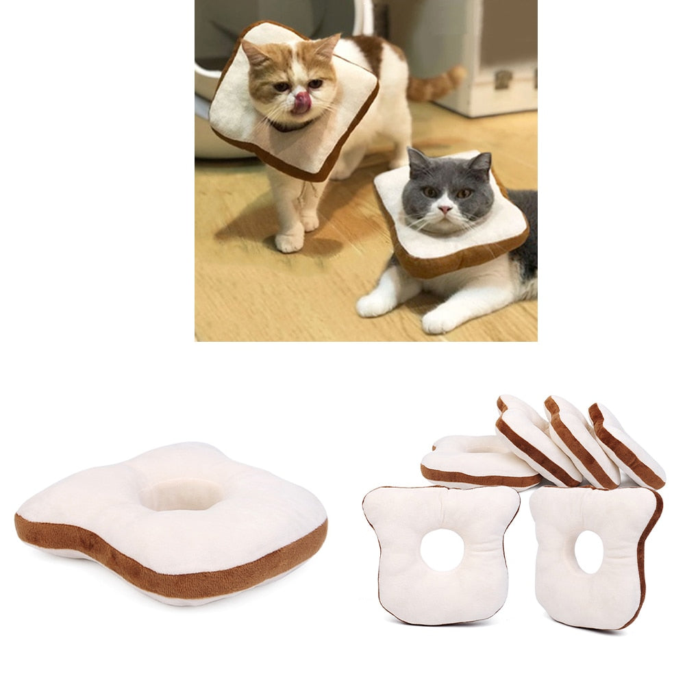 Bread Shaped Pet Collar - Toast Cat Adjustable Collar Wound Healing - Cat Collars & Leads