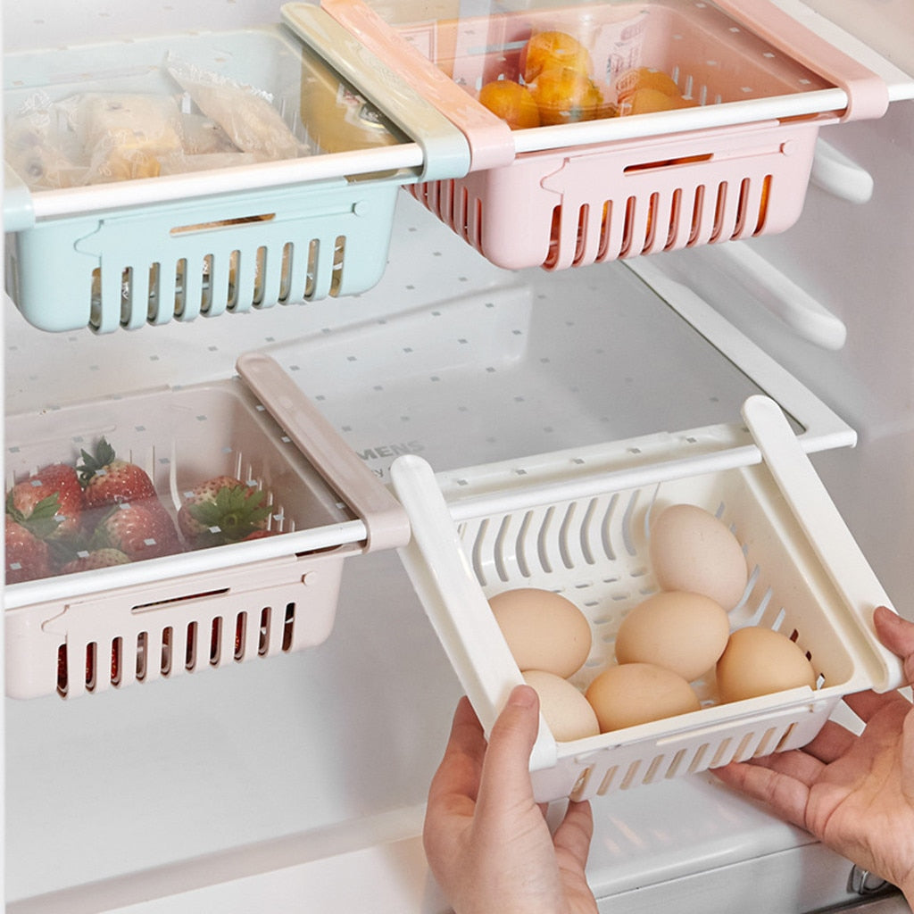 Adjustable Pull-Out Refrigerator Storage Box Kitchen Food Container - White