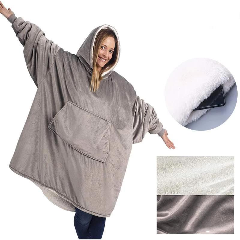 The Snuggle Master Oversized Blanket Hoodie - Outdoor Hooded Pocket Blanket - Gray - Blankets