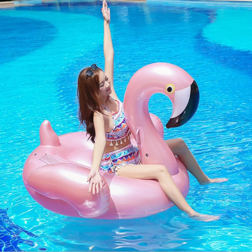 Giant Inflatable Flamingo - Swimming Pool Float Toy - Swimming Rings