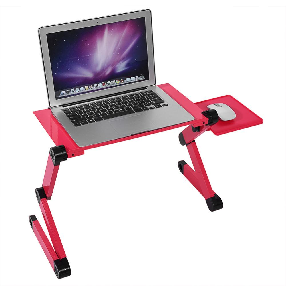 Adjustable Aluminum Laptop Desk Table - Portable Stand For Laptop - Rose Red - Laptop Desks