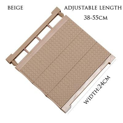 Adjustable Closet Organizer Storage Shelf- Wall Mounted Kitchen Wardrobe Space Saving Rack - beige-38-55cm - Storage Holders & Racks