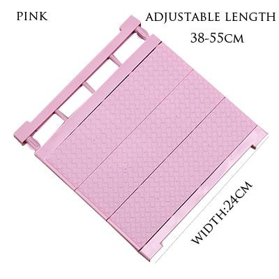 Adjustable Closet Organizer Storage Shelf- Wall Mounted Kitchen Wardrobe Space Saving Rack - pink-38-55cm - Storage Holders & Racks