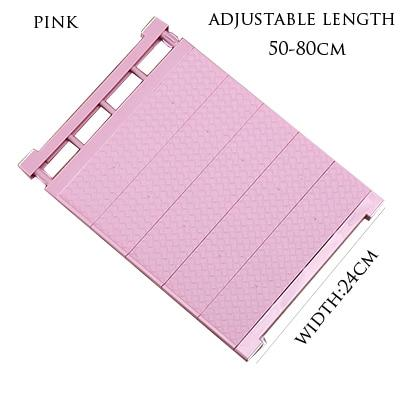 Adjustable Closet Organizer Storage Shelf- Wall Mounted Kitchen Wardrobe Space Saving Rack - pink-50-80cm - Storage Holders & Racks