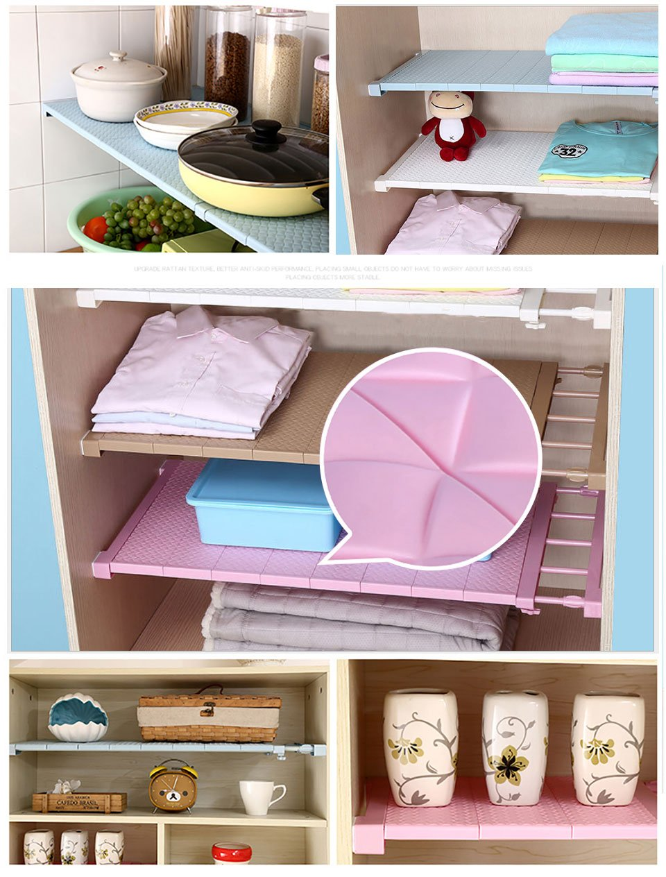 Adjustable Closet Organizer Storage Shelf- Wall Mounted Kitchen Wardrobe Space Saving Rack - Storage Holders & Racks