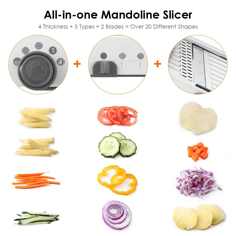 Adjustable Mandoline All-in-One Professional Vegetables Cutter Shredders Slicer Grater