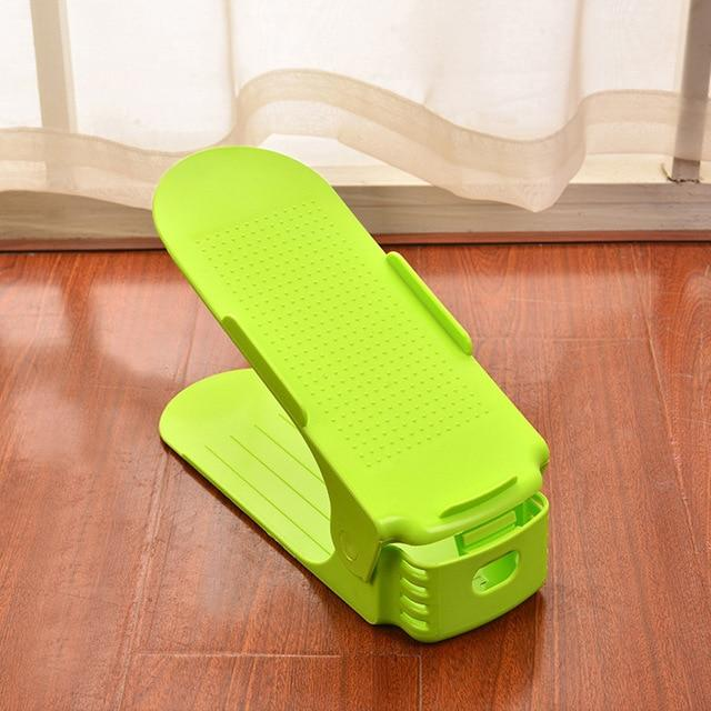 Adjustable Shoe Rack Organizer - Double Shoe Holder - Green