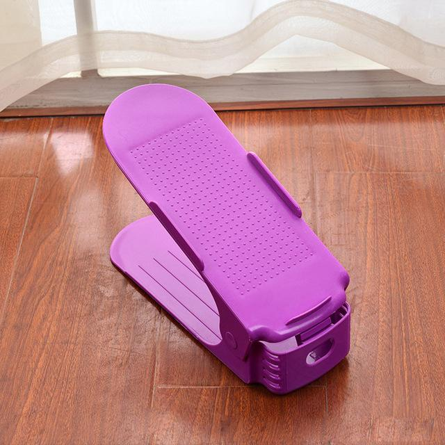 Adjustable Shoe Rack Organizer - Double Shoe Holder - Purple