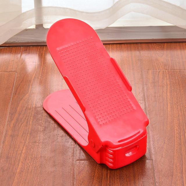 Adjustable Shoe Rack Organizer - Double Shoe Holder - Red