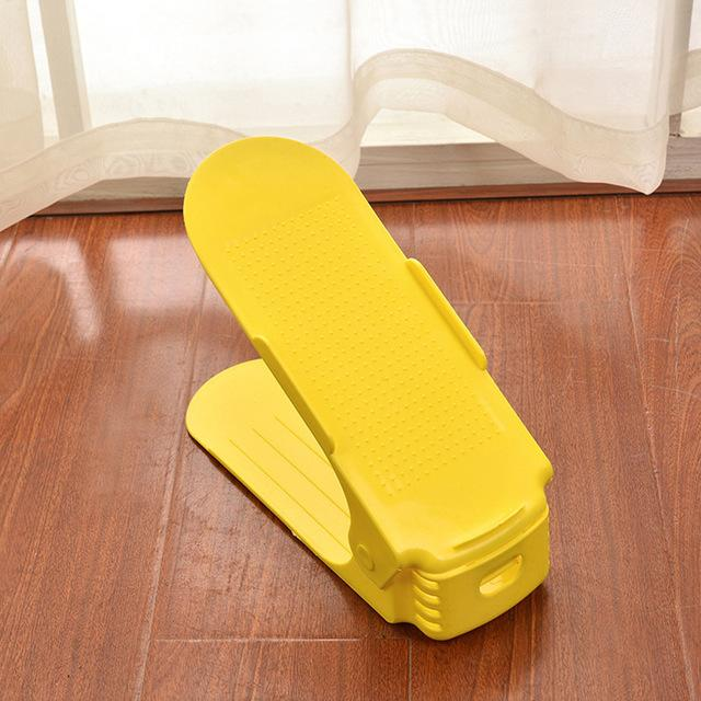 Adjustable Shoe Rack Organizer - Double Shoe Holder - Yellow