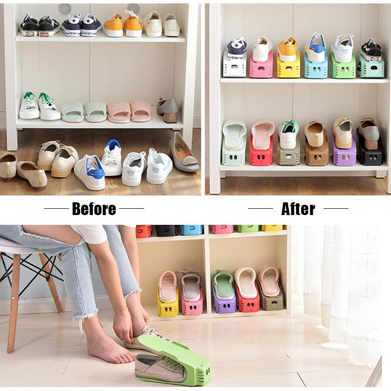 Adjustable Shoe Rack Organizer - Double Shoe Holder