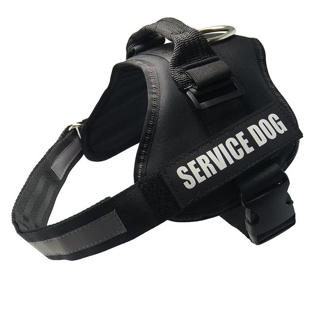 All-In-One No Pull Dog Harness With Reflective Collar Hook And Loop Straps - black / S - Harnesses