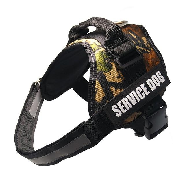 All-In-One No Pull Dog Harness With Reflective Collar Hook And Loop Straps - camo leaves / S - Harnesses
