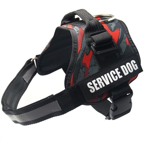 All-In-One No Pull Dog Harness With Reflective Collar Hook And Loop Straps - camo red / S - Harnesses