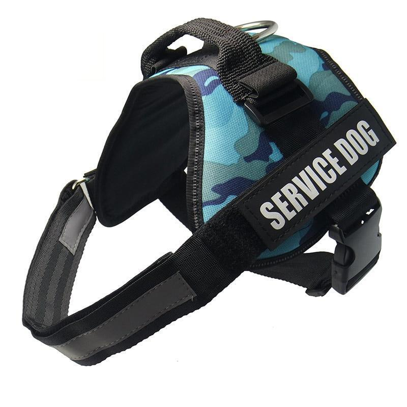 All-In-One No Pull Dog Harness With Reflective Collar Hook And Loop Straps - Camo Sky Blue / S - Harnesses