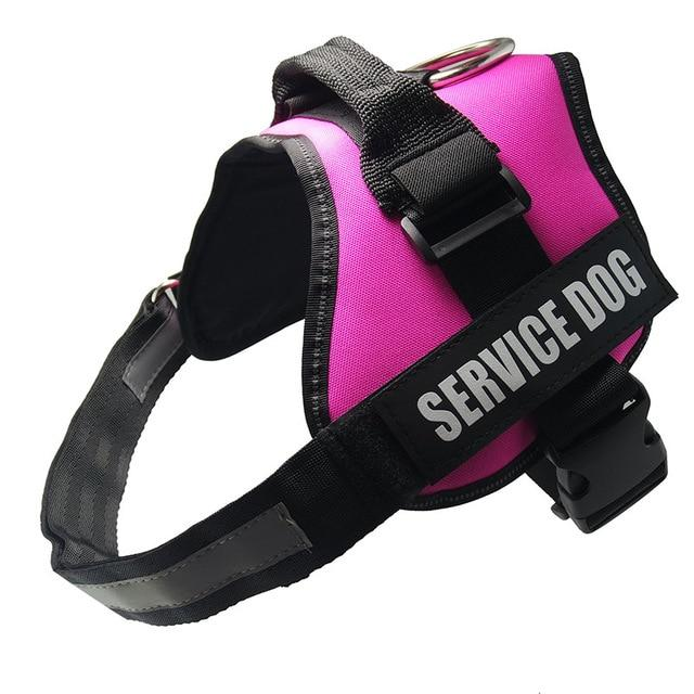 All-In-One No Pull Dog Harness With Reflective Collar Hook And Loop Straps - pink / S - Harnesses
