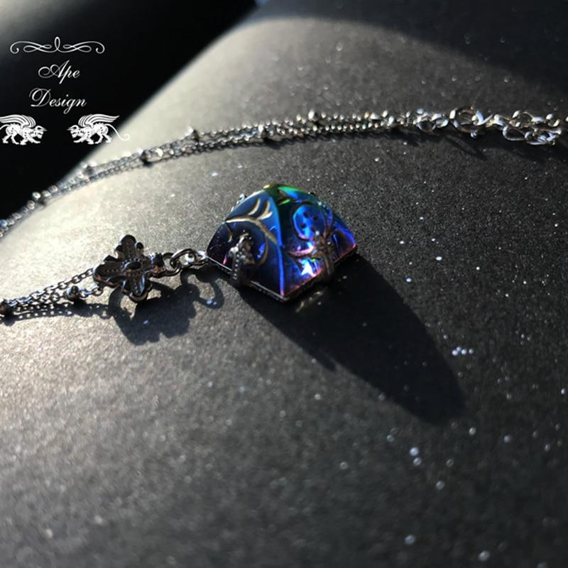 Antique Pyramid Rainbow Crystal Necklace - Western Retro Gemstone s925 Sterling Silver Necklace